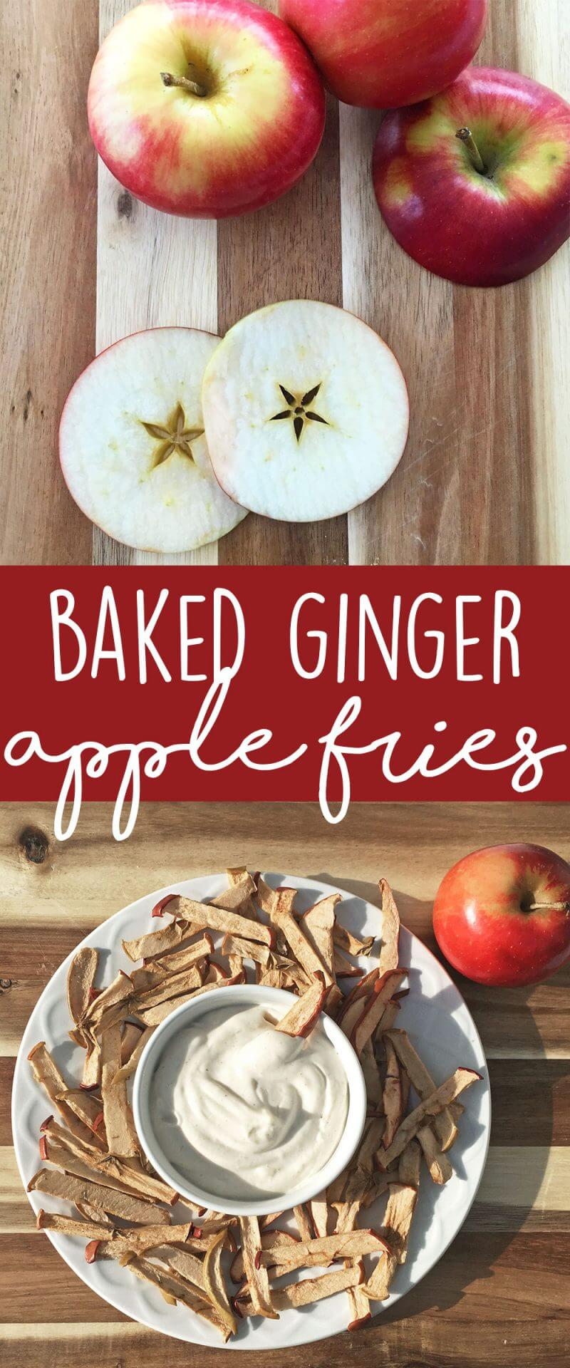 Healthy snack idea and easy to make in batches: Baked Ginger Apple Fries with a cinnamon yogurt dip! Fun and delicious snack for kids AND adults.