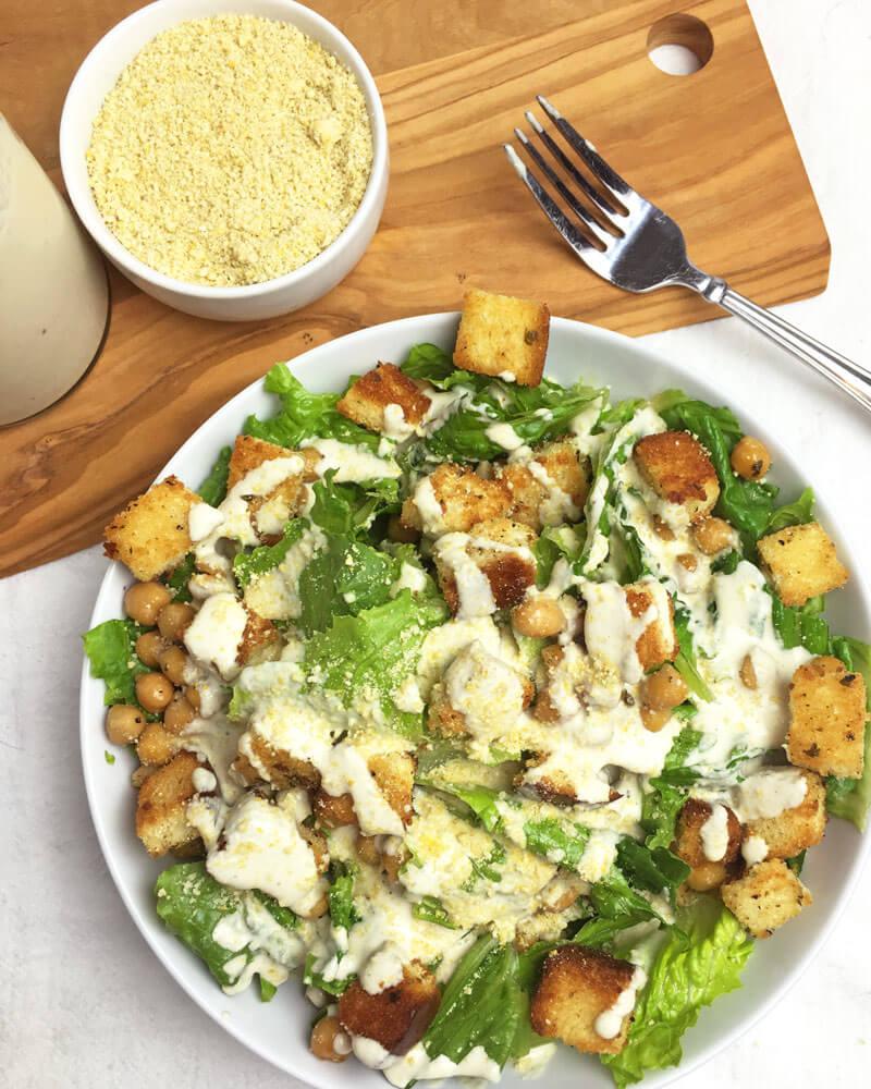 Vegan Caesar Salad with Chickpeas - Hearty Vegan Salad Recipes