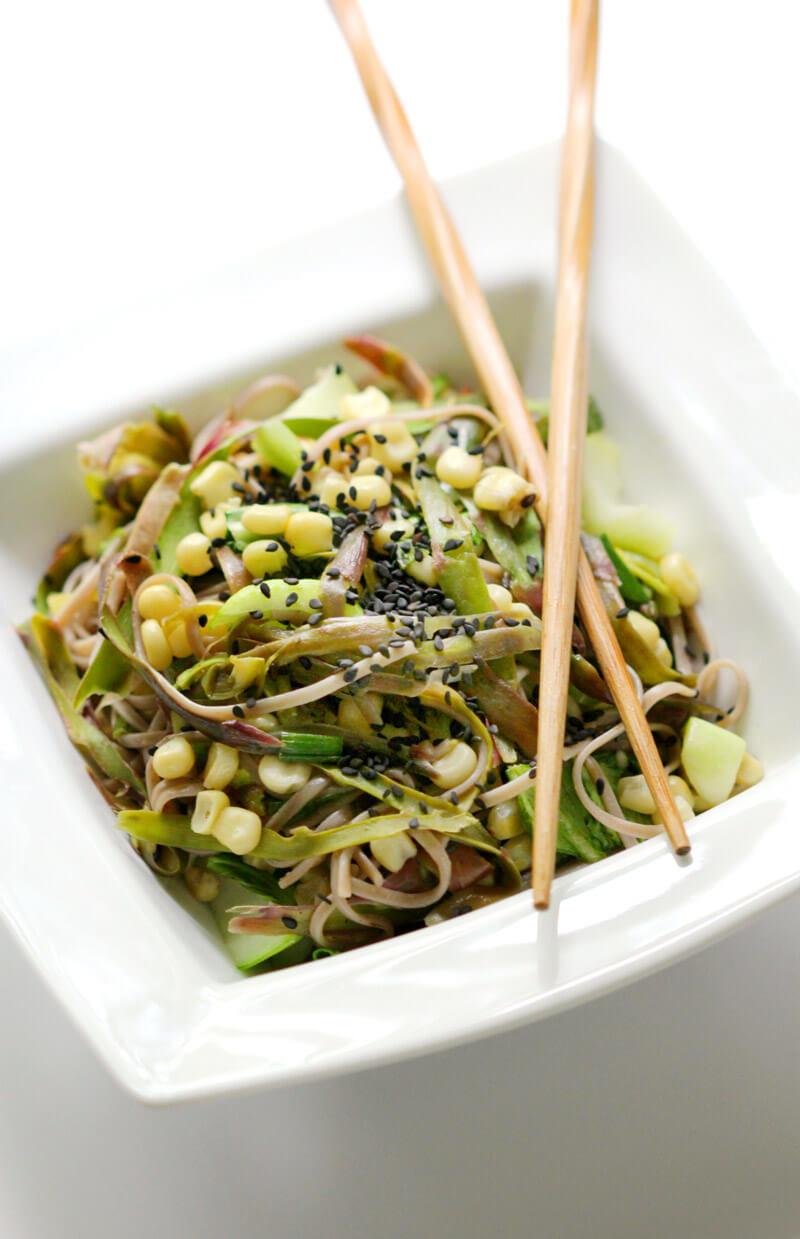 Shaved Asparagus and Soba Noodle Salad - Hearty Vegan Salad Recipes