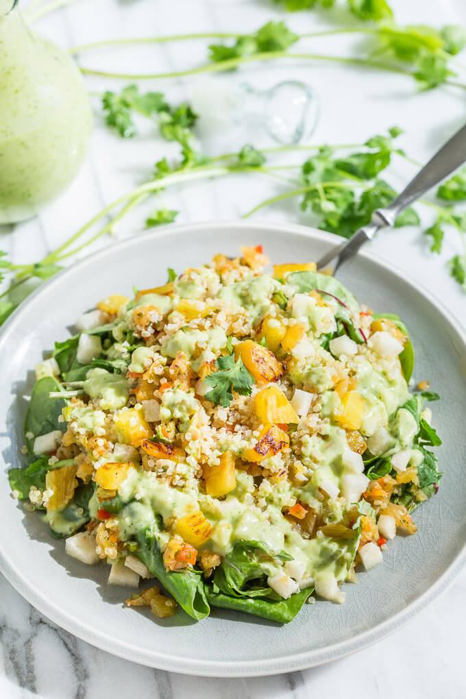 Tropical Quinoa Salad with Coconut Lime Dressing - Hearty Vegan Salad Recipes