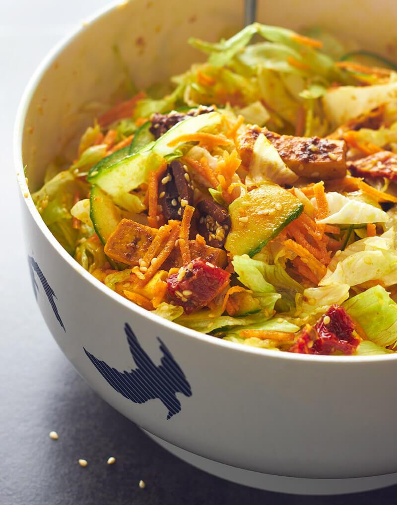Turmeric Tofu Salad - Hearty Vegan Salad Recipes