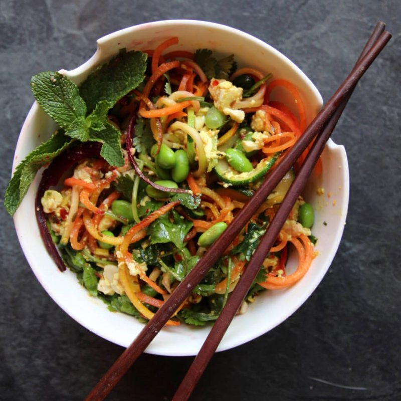 Rainbow Pad Thai Salad - Hearty Vegan Salad Recipes
